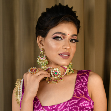 Gold plated pearls and pachhi kundan pink choker n...