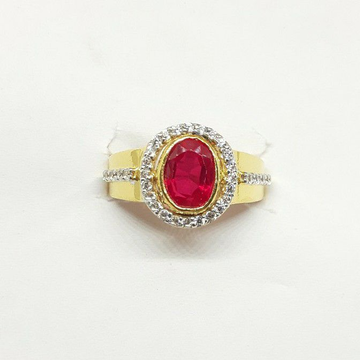 New red stone cz gents ring