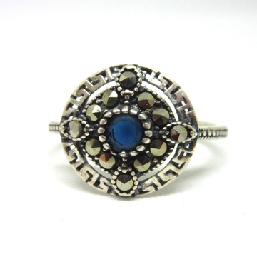 Silver 925 blue stone oxidised ring sr925-292