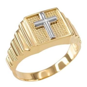 22kt, 916 Hm, Yellow Gold patterned Ring with cross JKR231.