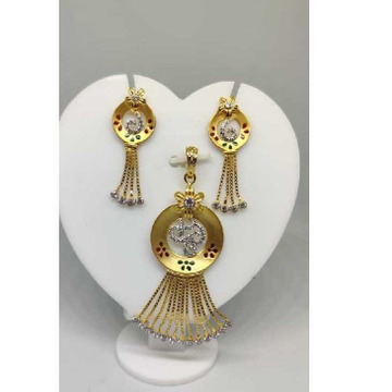 22k ladies fancy gold pendant set-41810