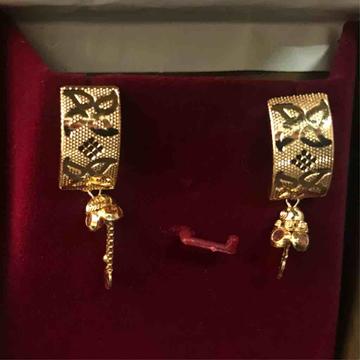 22ct fancy plain gold cnc earrings