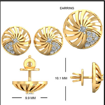 22kt Yellow Gold Prevailing Flowerets Earrings For Women