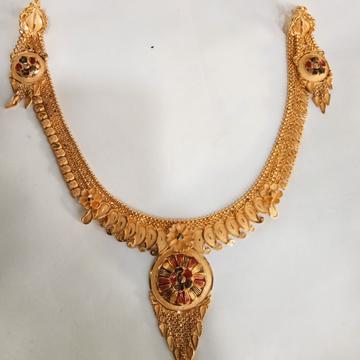 22 kt 916 gold necklace set kalkti by