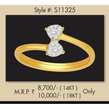 916 Gold Fancy Real Diamond Ring