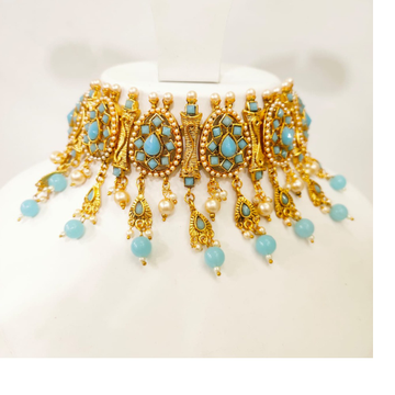 Full choker antique with sky blue stone hand made necklace set 1390