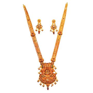 22kt Gold Rajwadi Meenakari Necklace Set MGA - GLS040