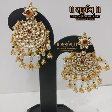 Flower Design Gold Plated Kundan Work Earring 1754