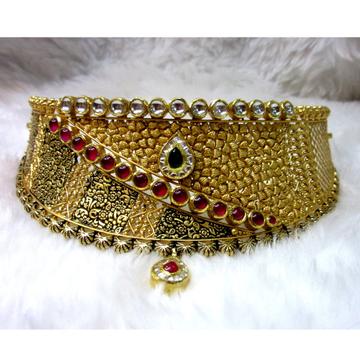 Gold 22k Hm916 Asymmetrical Antique Jadtar Necklace Set