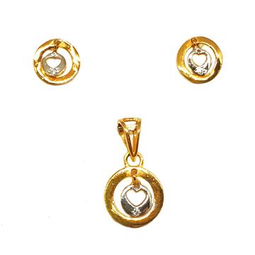 22K Gold Round Shaped Pendant Set MGA - PTG0070