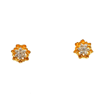 18k gold flower shaped earrings mga - btg0362