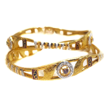 916 gold cz diamond copper kadli bangles mga - gp033