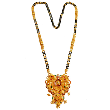 22kt Gold Kalkatti Meenakari Flower Shape Mangalsutra MGA - GM038