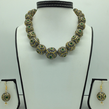 White and Green CZ Balls Graded Necklace Set JNC01...