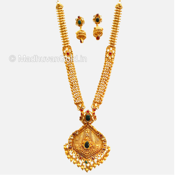 22K Gold Fancy Long Necklace With Earrings