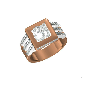 Rose Gold Designer Outwear Om Design Men's Ring-31321