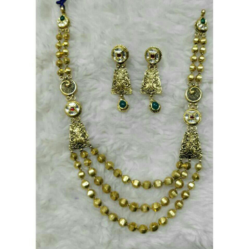 22K / 916 Gold Antique Jadtar 3 Line Necklace Set
