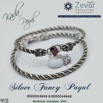 Silver Oxodised Kada Payal