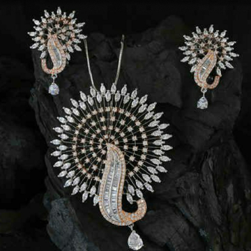 18KT Rose gold round special occasions pendant set... by