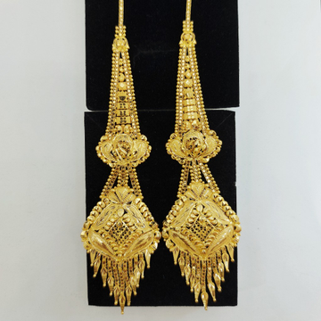 Gold Earring with Earchain by