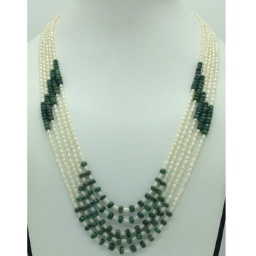 White Rice Pearls with Green Bariels 5 Layers Neck...