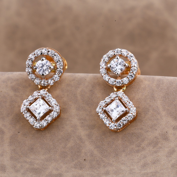 750 CZ Ladies Rose Gold  Earring RE185