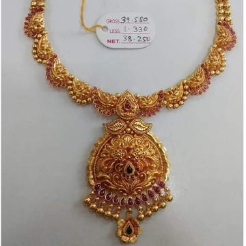 916 GOLD ANTIQUE JADTAR NECKLACE by