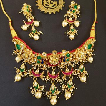 Red gadi (cotton) work pearl hanging necklace set