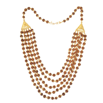 One gram gold forming 5 line rudraksh mala chain mga - rme0003