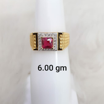 Red solitaire gent's ring by