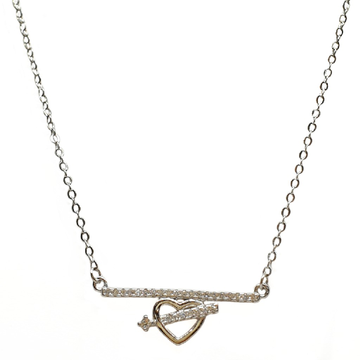 925 Sterling Silver Heart Shaped Necklace Chain MGA - NKS0059