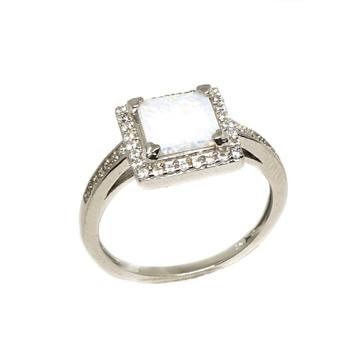 925 Sterling Silver Square Shaped Ring MGA - LRS3371
