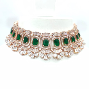 Diamond with full choker and emerald antique necklace set 1444