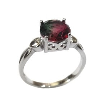 925 Sterling Silver Multi Coloured Stone Ring MGA - LRS1561