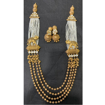 22K Gold Rajwadi Elephant Design Long Necklace Set