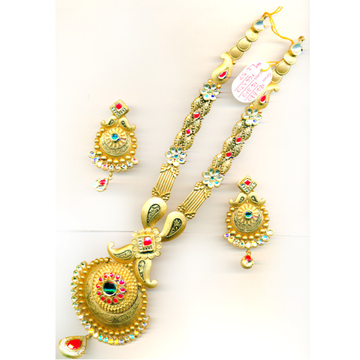 916 Gold Fancy Colorful Long Bridal Necklace Set-22