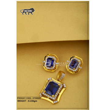 22 Carat 916 Gold Ladies Blue colour stone pendent... by