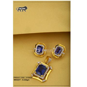 22 Carat 916 Gold Ladies Blue colour stone pendent set cpg0024