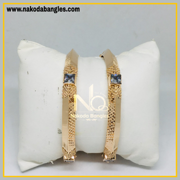 916 Gold Rose Gold Stone Fancy Bangles NB - 446