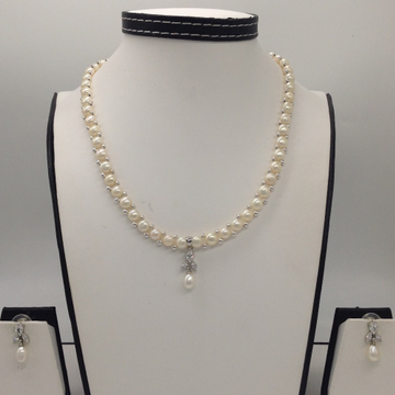 WhiteCZ And Pearls PendentSet With 1Line ButtonJali Pearls Mala JPS0405
