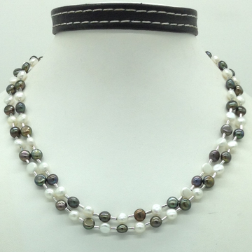 Freshwater Blackand White ButtonPearls Pipe Neck...