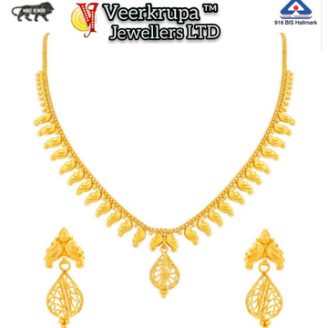 916 Gold Necklace Set With Earring by