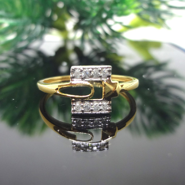 916 Gold Cz Diamond Ladies Square Ring