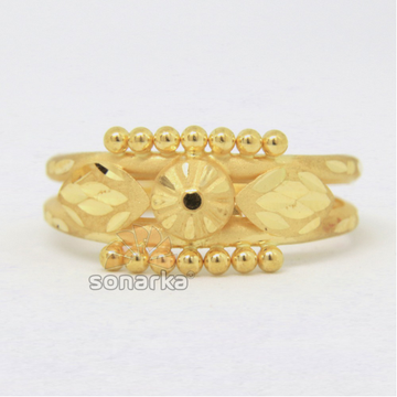 22ct 916 Yellow Gold Ladies Ring Indian Double Pipe Kaida Design