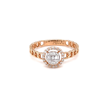 Cuban band diamond ring with baguette pressure set