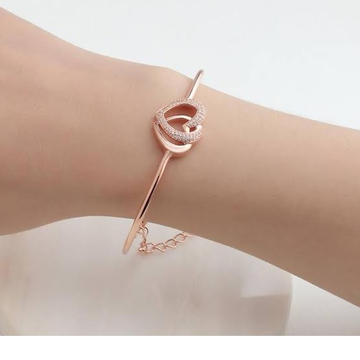 18kt rose gold double heart design bracelet for women jkb047