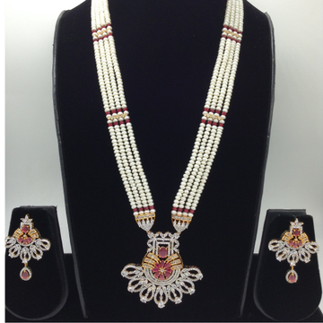 White and redcz rani haarset with 4lines flatpearls mala jps0446