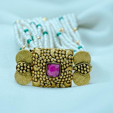 22KT Gold Pink Stone Antique Bracelet LB-568 by