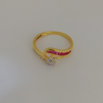916 gold pink colour stone fancy ladies ring by Vinayak Gold