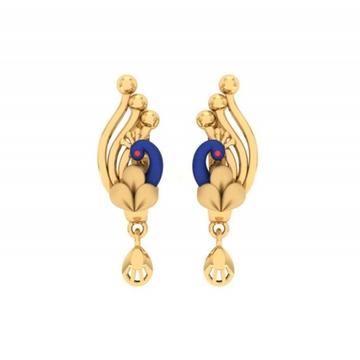 916 gold designer peacock design earring pj-e009